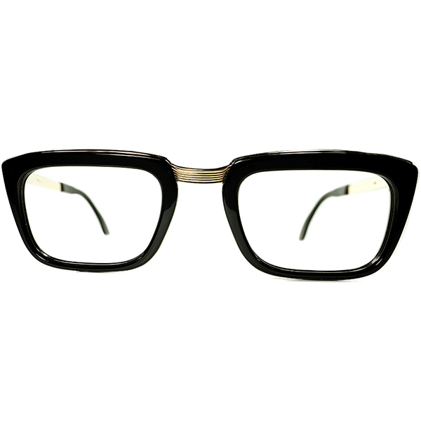 超優秀ハイクラスOLD FRENCHクラシック 1960s フランス製デッドストック FRAME FRANCE by selecta 黒x本金張り COMBOウェリントン size48 ビンテージヴィンテージ 眼鏡メガネ a7210