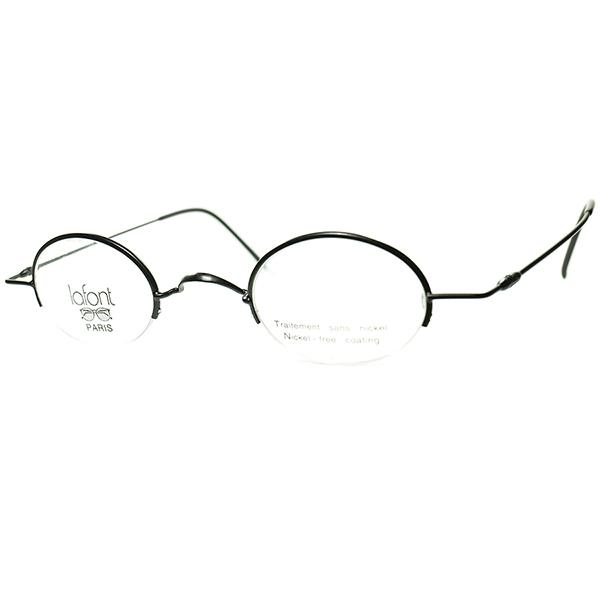 極上シンプルMINIMAL CLASSIC 1990s デッドストック FRAME FRANCE lafont ラフォン 極細リム ナイロール小径OVALラウンド MATT BLACK 丸眼鏡 ビンテージヴィンテージ 眼鏡メガネ a7213