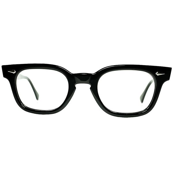 ALL純正AO製パーツ 貴重SMALL SIZE個体 1960s デッドストック USA製 アメリカンオプティカル AMERICAN OPTICAL アーネル ARNEL系 ウェリントン 黒42/20 ビンテージヴィンテージ 眼鏡メガネ a7239