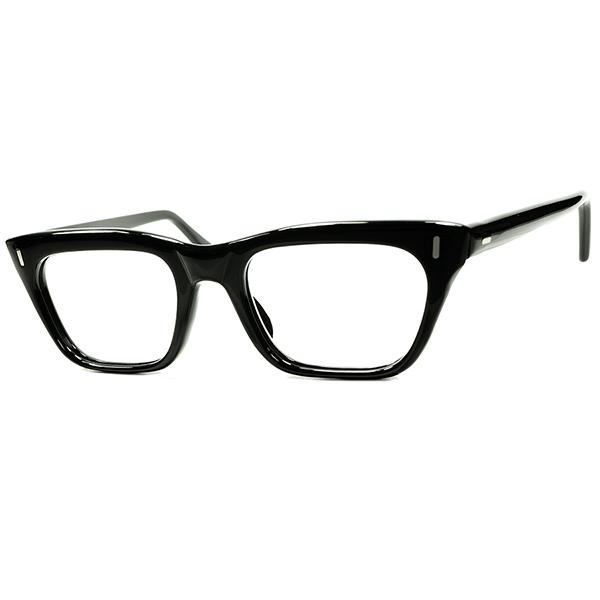 良質シンプル&ベーシック保守的デザイン 1960s デッドストック MADE IN ENGLAND イギリス製 CLASSICウェリントン BLACK size44/20 ビンテージヴィンテージ 眼鏡メガネ a7290