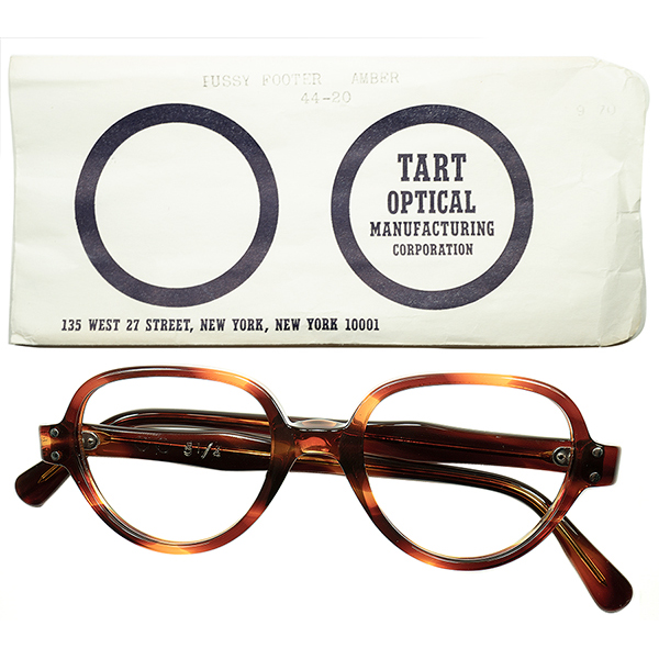 極上顔馴染み 初期RAREモデル1950s-60s スリーブ付 デッドストック DEADSTOCK USA製 TART OPTICAL タートオプティカル PUSSYFOOTER ビンテージヴィンテージ 眼鏡メガネ size44/20 鼈甲柄 眼鏡 a5723