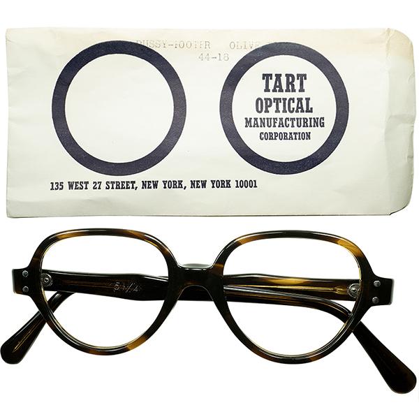 渋目路線初期モデル 小顔向け個体 1950s-60s スリーブ付デッドストック DEADSTOCK USA製 TART OPTICAL タートオプティカル PUSSYFOOTER ヴィンテージ 眼鏡 メガネ size44/18 黒鼈甲柄 a5725