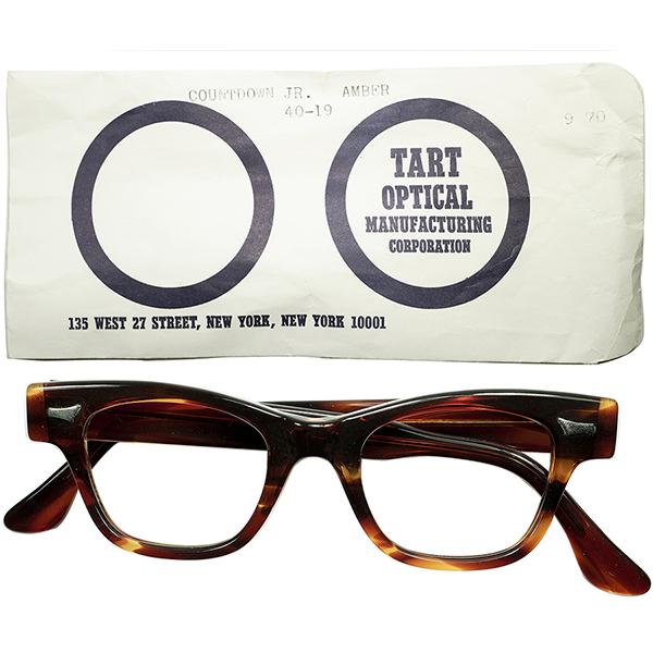 稀少スモールサイズ個体 旧スリーブ付デッドストック DEADSTOCK 1950s-60s USA製 TART OPTICALタートオプティカル COUNTDOWN JR size40/19鼈甲柄 ビンテージ 眼鏡 メガネ a5726