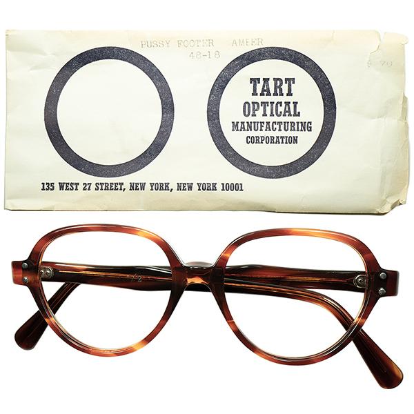 球数極少 渋目初期モデル 1950s-60s スリーブ付 デッドストック USA製 TART OPTICAL タートオプティカル PUSSYFOOTER size48/18 鼈甲柄 ビンテージヴィンテージ 眼鏡メガネ a5729