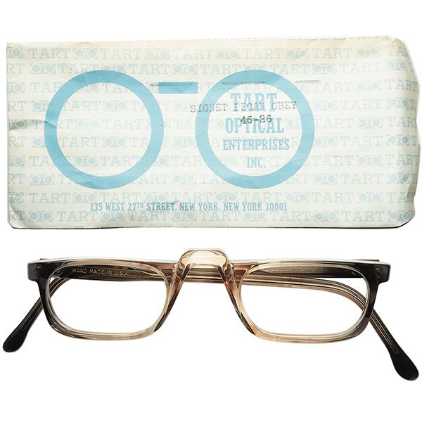 新鮮CLASSICデザイン 1960s-70s スリーブ付 デッドストックUSA製 TART OPTICAL タートオプティカル 1/2 EYEハーフアイ 縦フェード鼈甲柄 ビンテージ 眼鏡 メガネ a5731