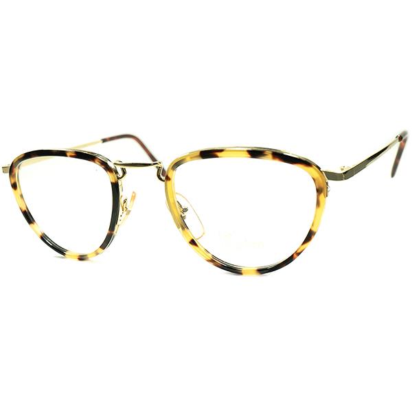 テクニカルアップデート済 CLASSIC秀逸デザイン 1980s デッドストック DEADSTOCK MADE IN ITALYイタリア製 鼈甲柄インナーリム PANTO ラウンド ビンテージ 眼鏡 メガネ a5973