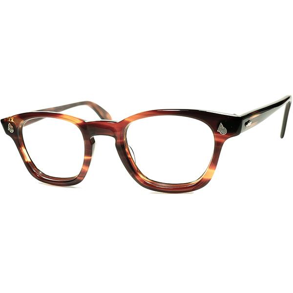 US史上BEST名作 最稀少色x別格SIZE デッド級 MINT個体1950s-60s USA製 AMERICAN OPTICAL アメリカンオプティカル AOヒンジ KEYHOLE ウェリントン ビンテージ 眼鏡 メガネ size44/22 a6014