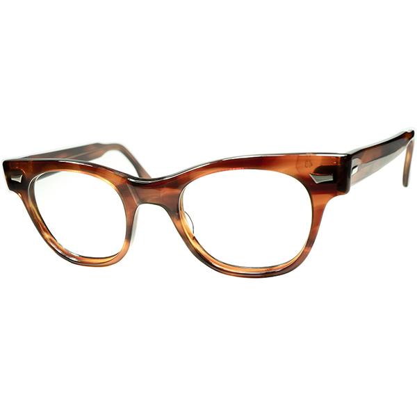 タート四天王 大きめサイズ極上個体 1950s-60s USA製 TART OPTICAL タートオプティカル COUNTDOWN アンバー size48/24 ビンテージ 眼鏡 メガネ a6015