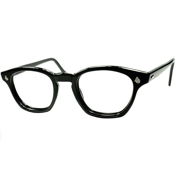 人気急上昇 最定番MODEL 1950s-1960s AMERICAN OPTICAL アメリカンオプティカル AMERICAN OPTICAL AOヒンジKEYHOLE ウェリントン 黒 size48/22 大きめサイズ個体 ビンテージ 眼鏡 メガネ a6018