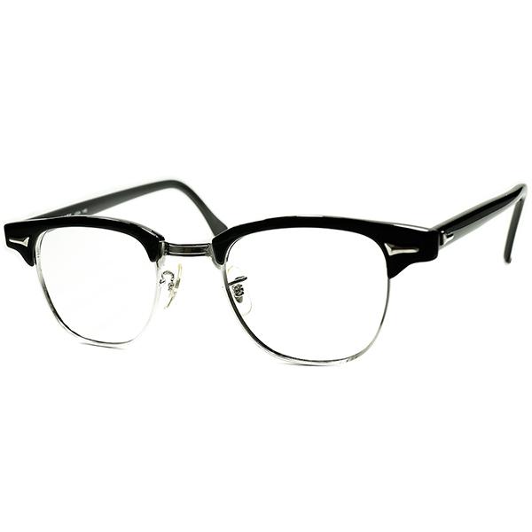 カーネルサンダース氏愛用モデル 優良個体 1960s-70s USA製ART CRAFT CLASSICブロータイプ 単色BLACK size44/22 ビンテージ 眼鏡 メガネ a6024