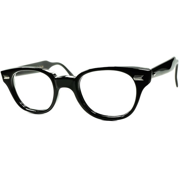 AOプレステージ 最高峰デッド級MINT個体 1960s AMERICAN OPTICAL アメリカンオプティカル JAGUAR 肉厚ウェリントン黒 ビンテージ 眼鏡 メガネ size46/23 a6029