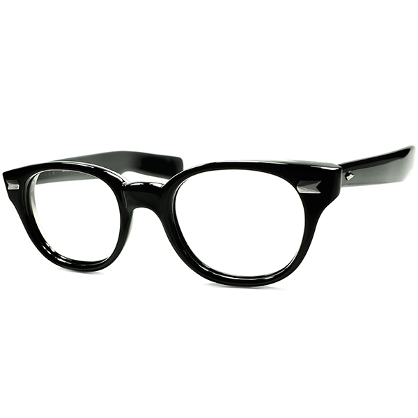 デッド級MAXレベル極上ミント 1960s AO アメリカンオプティカル AMERICAN OPTICAL JAGUAR 極太テンプル BLACK肉厚ウェリントン ヴィンテージ 眼鏡 メガネ size46/21 a6031