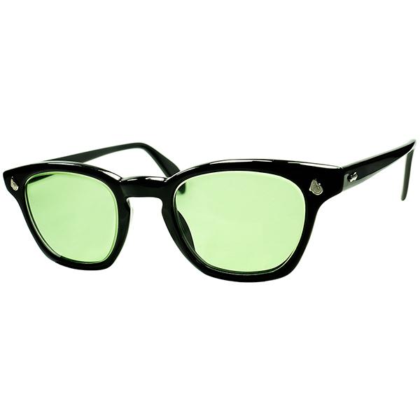 普遍的名作 デッド級 TOPランク特級個体 1950s-60s USA製 アメリカンオプティカル AMERICAN OPTICAL AOヒンジ KEY HOLEウェリントン黒size46/22 砂打#3ガラスLENS ヴィンテージ 眼鏡 メガネ a6032