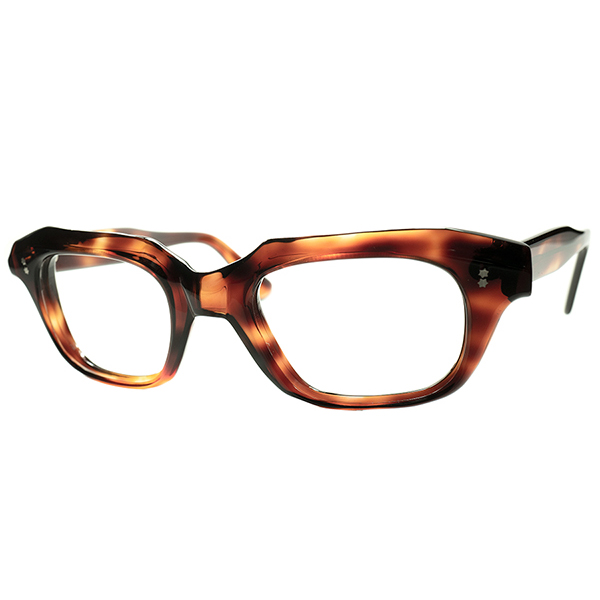 GOOD DESIGN&快適フィット 1960s フランス製 デッドストックDEADSTOCK FRAME FRANCE フレーム フランス 多面的CUTTING 六角星ヒンジ ウェリントン ビンテージヴィンテージ 眼鏡メガネ A6047