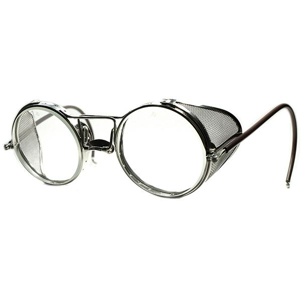 EARLY超歪ディティール 初期個体 1920s-30s AOアメリカンオプティカル 一本繋ぎ変形BRIDGE サイドガード インダストリアルROUND ビンテージ 丸眼鏡 a6058