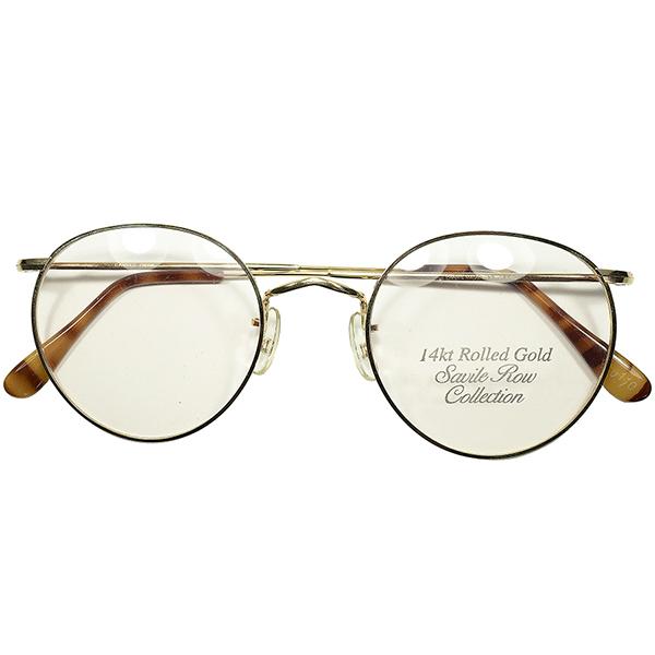 最BASIC名作モデル 朗報WIDE FACE向大きめSIZE個体 1970s-80s デッドストック 英国製 MADE IN ENGLAND SAVILE ROW by ALGHA 金張 14KTRG FUL-VUE STYLE PANTO ヴィンテージ 丸眼鏡 丸メガネ size51/22 a6065