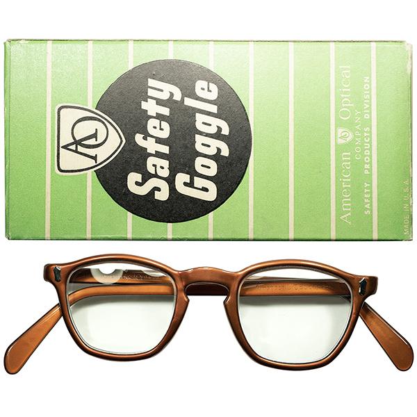 最初期AOヒンジ 大戦影響RAREモデル 1940s-50s 完品デッドストック USA製 アメリカンオプティカル AMERICAN OPTICAL Wダイヤ初期型 KEYHOLE ウェリントン ビンテージ眼鏡 メガネ size42/22 a6074
