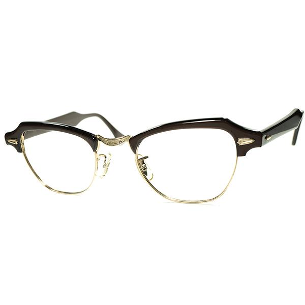 再構築アールデコ UNISEX アメリカンCLASSIC 1950s-60s デッドストック DEADSTOCK USA製 B&L ボシュロム 金張1/10 12KGF 彫金BRIDGE ブロータイプ size 46/22 ビンテージ眼鏡メガネ a6092