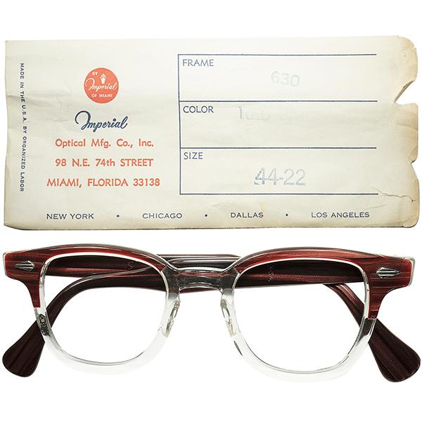 殿堂入名作ホーンリム 1950s スリーブ付 デッドストック DEADSTOCK IMPERIAL 650 ARNELアーネル系 HORNRIM ゴールデンサイズ 44/22 REDWOOD ビンテージ 眼鏡 メガネ a6104