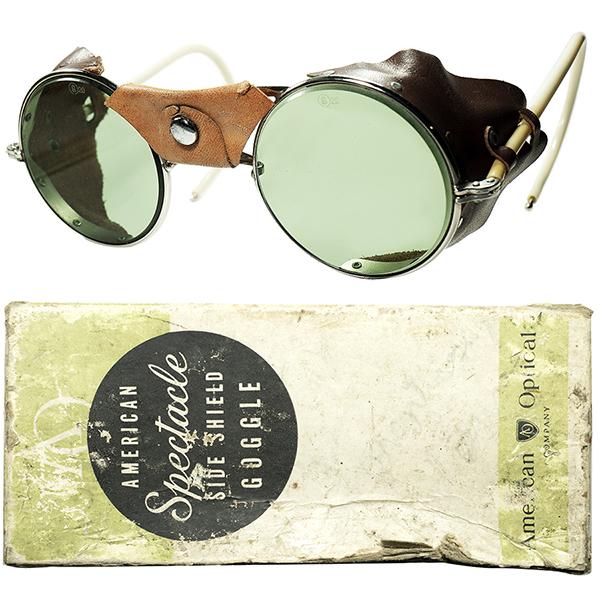 2色レザー珍バージョン 1920s-30s USA製 アメリカンオプティカル AMERICAN OPTICAL 2TONE レザーサイドガードINDUSTRIAL 正円ラウンド ビンテージヴィンテージ 眼鏡メガネ AO製FLATガラスLENS a6153