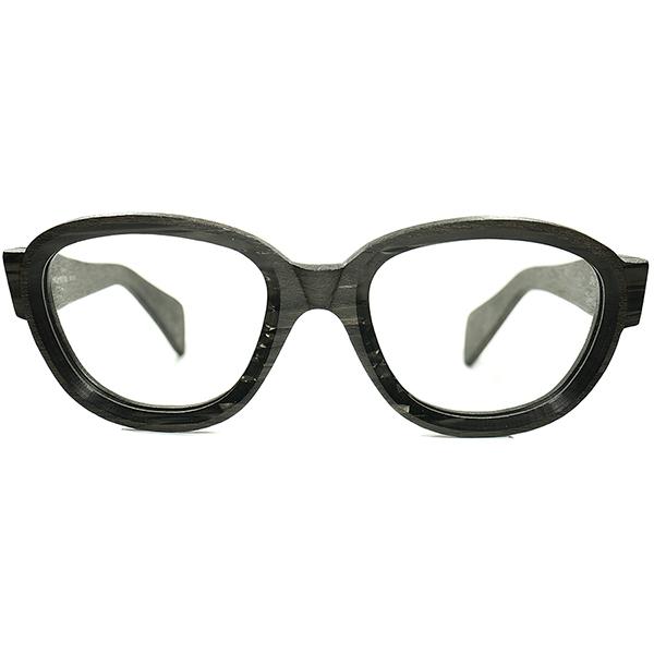 凄技コンビネーション 激レア個体 デッドストック DEADSTOCK 1960sイタリア製 MADE IN ITALY テレビジョンCUTxリアルANTIQUE WOODエフェクトPANTO size 52/22 ビンテージヴィンテージ 眼鏡メガネ a6157