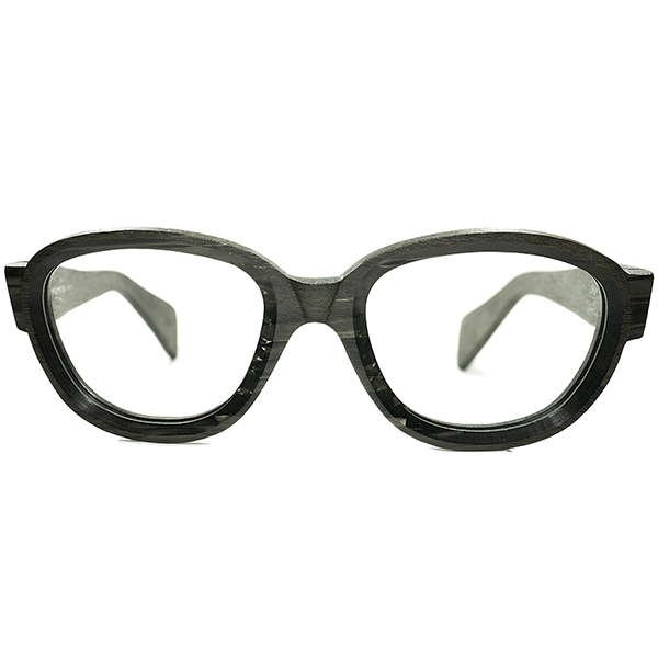 渾身テクニカル作品 デッドストック DEADSTOCK 1960s イタリア製 MADE IN ITALY テレビジョンCUTx リアルANTIQUE WOODエフェクト PANTO size48/22 ビンテージヴィンテージ 眼鏡メガネ a6158