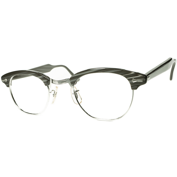 銘品 AMERICAN CLASSICS 大きめフェイス向け個体 1960s-70s USA製 デッドストック DEADSTOCK SHURON RONSIR シュロン ロンサー ビンテージ 眼鏡 メガネ size48/24 CHARCOAL WOOD a6160