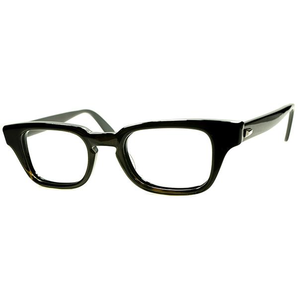 正統派AMERICAN CLASSIC STYLE 1960s USA製 B&L ボシュロム BAUSCH&LOMB 渋目路線ヒンジなしウェリントン 黒ベース DARK OLIVE size44/20 ヴィンテージ 眼鏡 メガネ a6163