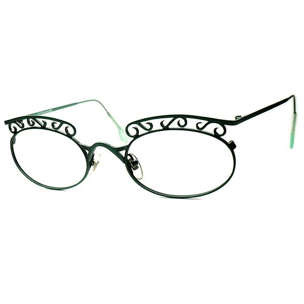 PUNKISH 1990年代的 New Art Deco 1990s デッドストック DEADSTOCK ITALY製 l.a.Eyeworksアイワークス WROUGHT IRON STYLE 装飾 OVAL ビンテージヴィンテージ 眼鏡メガネ ラウンド丸眼鏡 a6167