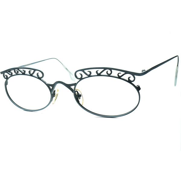 1990年代的解釈 New Art Decoデザイン 1990s デッドストックDEADSTOCK ITALY製 l.a.Eyeworksアイワークス WROUGHT IRON STYLE 装飾 OVAL ラウンド 丸眼鏡 ビンテージヴィンテージ 眼鏡メガネ a6169