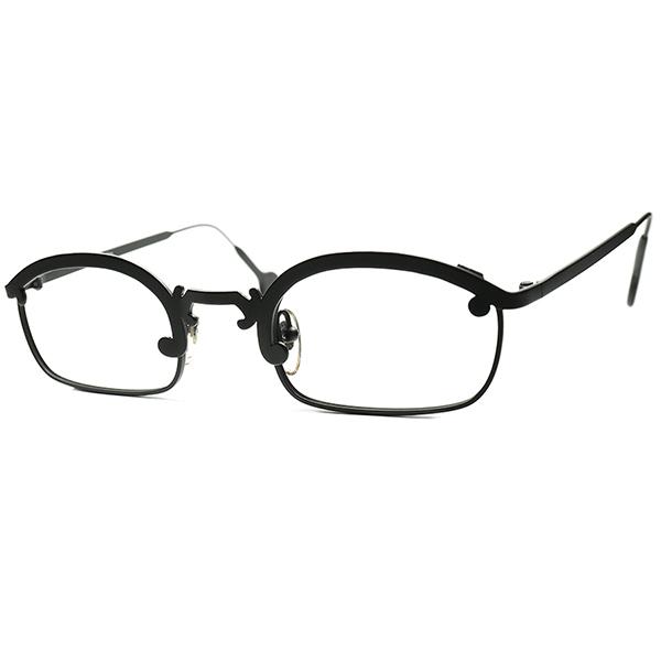アールデコ注入 HYBRID モダンデザイン 1990s デッドストック ITALY製 アイワークス l.a.Eyeworks ブロータイプ 短縦 PANTO ビンテージヴィンテージ 眼鏡メガネ マットブラック 合金 a6170