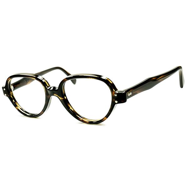 初期モデル超SMALL SIZE 希少個体 1950s-60sデッドストック DEADSTOCK USA製 TART OPTICAL タートオプティカル PUSSYFOOTER ビンテージ 眼鏡 メガネ size42/18 黒鼈甲柄 a6174