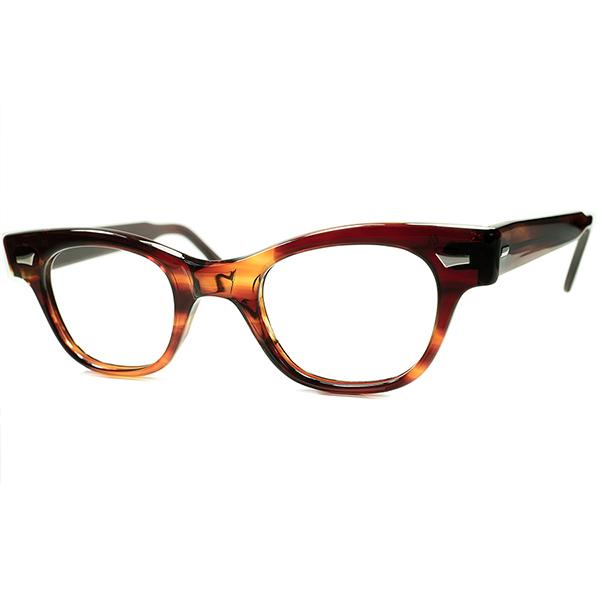 漆黒アンバーxゴールデンサイズ 1950s-60s デッドストック DEADSTOCK USA製 TART OPTICAL タートオプティカル COUNTDOWN アンバー size44/24 ビンテージ 眼鏡 メガネ a6191