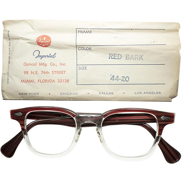 傑作SHAPE上級ホーンリム 1950s スリーブ付 デッドストックDEADSTOCK USA製 IMPERIAL 650 ARNEL アーネル系HORNRIM 希少サイズ 44/20 REDWOOD ビンテージヴィンテージ 眼鏡メガネ a6197