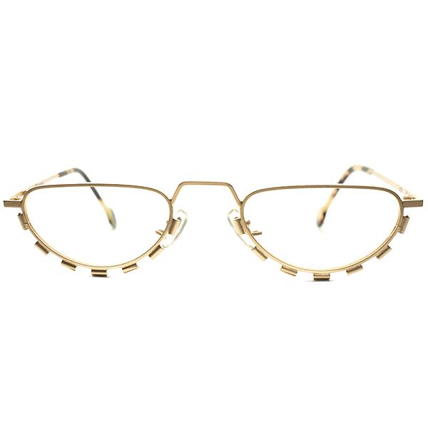 アンティーク CRAZY 鋭角カスタム 1990s デッドストックDEADSTOCK ITALY製 l.a.Eyeworks アイワークス MATT GOLD 1/2eye ハーフアイ リーディンググラス ビンテージヴィンテージ 眼鏡メガネ 老眼鏡 老メガネ a6202