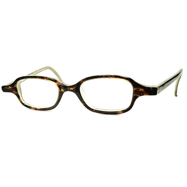 渋色ダークトーン 1990s デッドストック ITALY製 l.a.Eyeworksアイワークス 小径xLONGマウント COMPACT ウェリントン ANTIQUE DARK DEMI SMOKE ビンテージヴィンテージ 眼鏡メガネ a6225