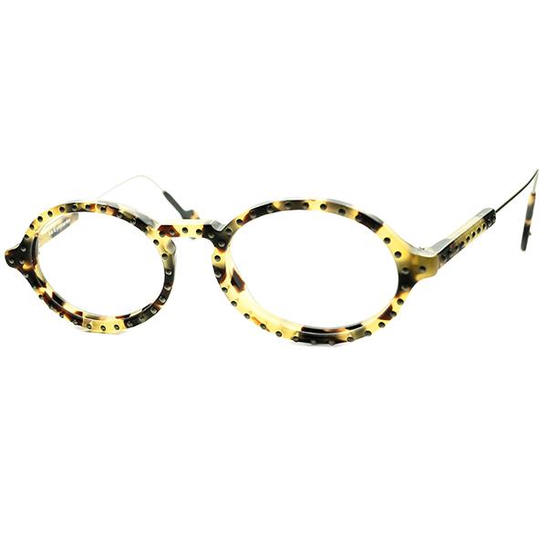 PUNKxCLASSIC 90年代ど真ん中テイスト 1990s デッドストック ITALY製 アイワークス l.a.Eyeworks スタッズ KEYHOLE オーバル ラウンド ビンテージヴィンテージ 眼鏡メガネ 丸眼鏡 丸メガネ バラ甲柄 a6235