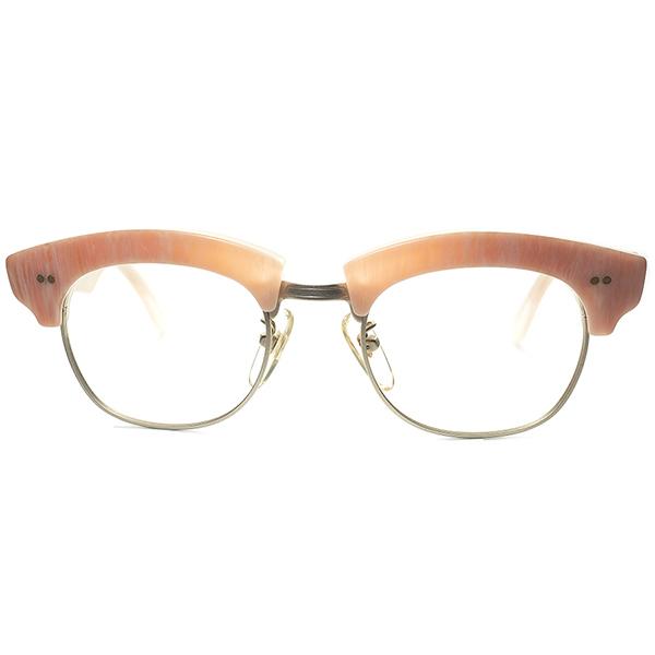 衝撃的グルメインスパイア代表作品 1980s デッドストック」ITALY メイド 初期 l.a.Eyeworks アイワークス 極太ブロータイプ ビンテージヴィンテージ 眼鏡メガネ メガネ サーモン柄 a6236