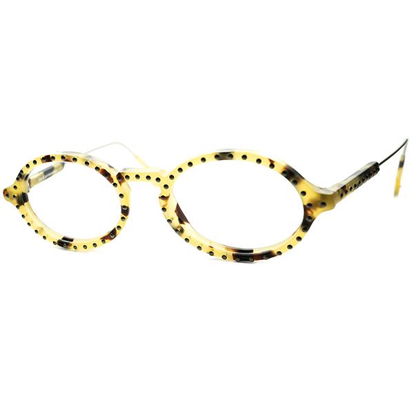 90年代テイスト全開 PUNKxCLASSIC 1990s デッドストック DEADSTOCK ITALY製 アイワークス l.a.Eyeworks スタッズ KEYHOLE オーバルラウンド ビンテージヴィンテージ 眼鏡メガネ 丸眼鏡 丸メガネ 白バラ甲柄 a6242