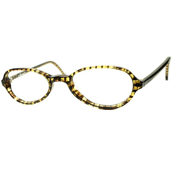 シック&トラッド 2000s デッドストック ITALY製 l.a.Eyeworksアイワークス 短縦幅アップデート BRITISH STYLE PANTO ビンテージヴィンテージ 眼鏡メガネ バスケットウィーブ柄 a6248