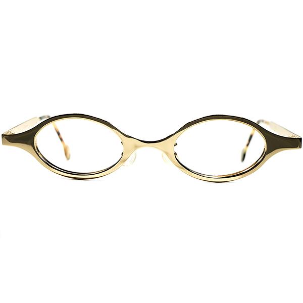 ハイブリッドANTIQUE DESIGN 超快適フィット仕様 1990sデッドストック DEADSTOCK ITALY製 l.a.Eyeworks アイワークス 立体曲智 短縦 OVALラウンド ビンテージヴィンテージ 眼鏡メガネ 丸眼鏡 丸メガネa6250