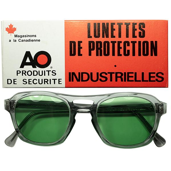 超実用向け 無骨ミリタリーSTYLE 1970s デッドストックDEADSTOCK CANADA製 AOアメリカンオプティカル AMERICAN OPTICAL Wブリッジ ウェリントン size50/20 ヴィンテージ 眼鏡 メガネ GREEN LENS入 a6256