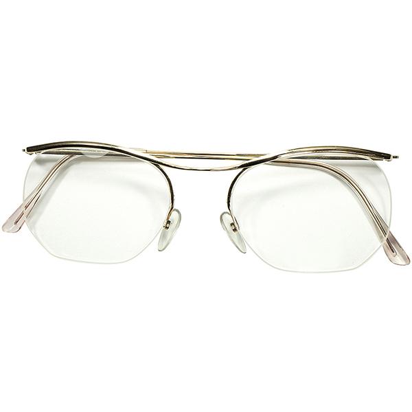 極限ミニマリズム 快適大きめSIZE個体 1960s フランス製 デッドストック DEADSTOCK FRAME FRANCE フレーム フランス 大御所 ESSELエッセル 金張りxナイロール AMOR型 ビンテージヴィンテージ 眼鏡メガネ 53/19 実寸 a6263