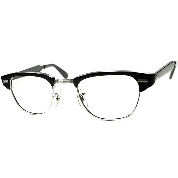 最貴重ブラック単色ブロー 1960s USA製 デッドストック DEADSTOCK US OPTICAL CLASSIC ブロータイプ MATT BLACK size44/22 ビンテージヴィンテージ 眼鏡メガネ a6303