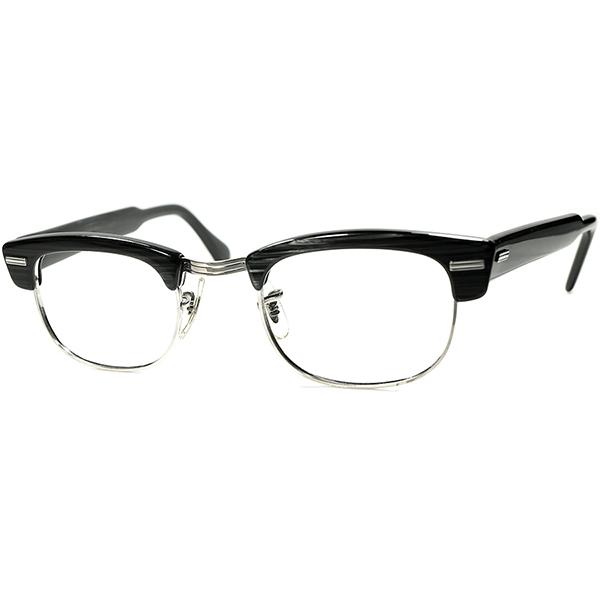 秀逸シルエット 黄金サイズ個体 1950s-60s USA製 デッドストック DEADSTOCK SRO BLACKWOOD ×1/10 12KGF 本金張 短縦ウェリントンブロータイプ size44/22 ビンテージ 眼鏡 メガネ a6308