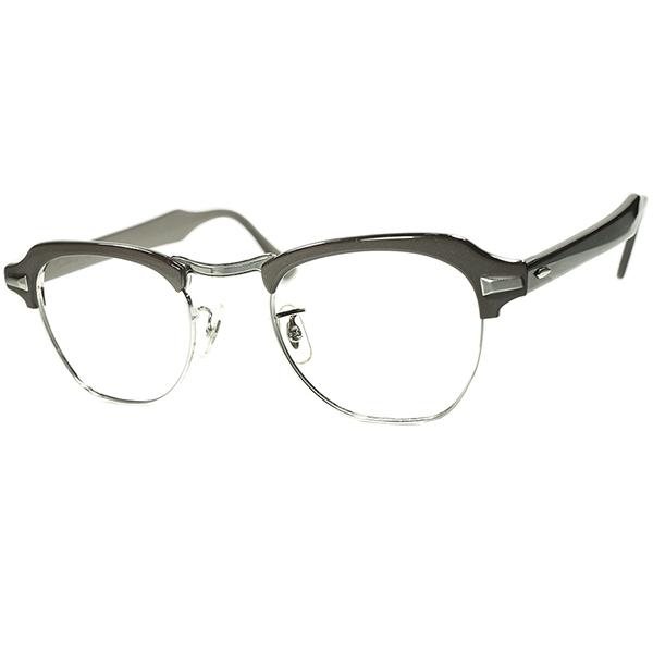 激渋硬派 アメリカントラッド 1950s-60s USA製 B&L ボシュロム BAUSCH LOMB PANTO STYLE ブロータイプ size 46/22 コンクリートGRAY ビンテージ 眼鏡 メガネ a6311