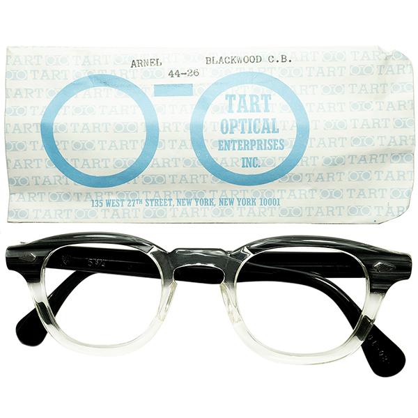 極美シルエット 1950s-60s スリーブ付 デッドストックDEADSTOCK USA製 オリジナル TART OPTICAL タートオプティカル ARNEL タートアーネル size44/26 BLACKWOOD ヴィンテージ 眼鏡 メガネ a6325