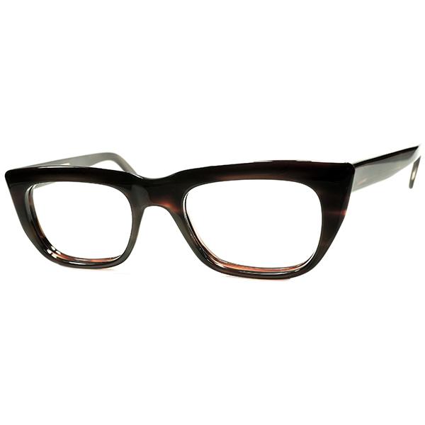 デイリー向け 典型的ブリティッシュCLASSIC DESIGN 1960s デッドストック 英国製 MADE IN ENGLAND 立体的面取りNO HINGEウェリントン ANTIQUE AMBER ビンテージヴィンテージ 眼鏡メガネ size44/20 a6349