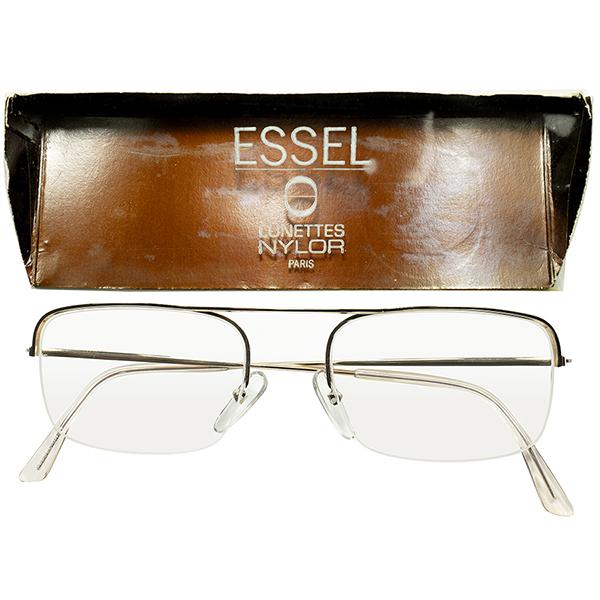 ハイエンド CLASSIC 1960s フランス製 デッドストックFRAME FRANCE フレーム フランス 大御所 ESSEL エッセル 金張りx元祖 NYLORアッパーブリッジ SQUARE ウェリントン ビンテージヴィンテージ 眼鏡メガネ size49/21 a6363