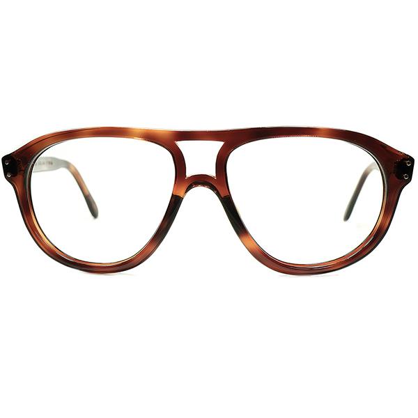実用的&正統派ベーシック 1960s デッドストックDEADSTOCK FRAME FRANCE フレーム フランス フランス製 Wブリッジ FRENCH AVIATOR フレンチアビエーター デミアンバー ビンテージヴィンテージ 眼鏡メガネ A6378